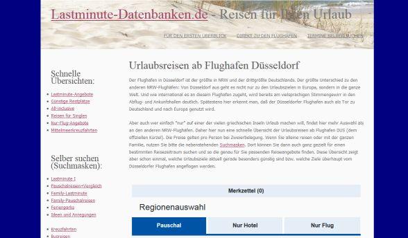 Früher: Flughafenseite auf Lastminute-Datenbanken.de
