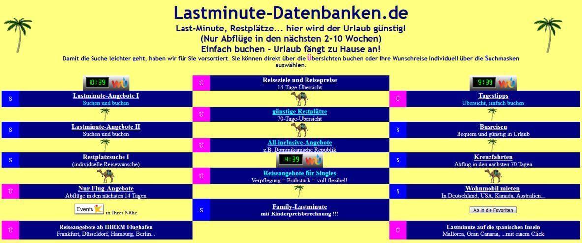 Lastminute-Datenbanken.de früher